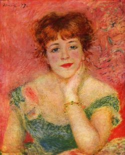 1877. Daydream by Pierre-Auguste Renoir, a portrait of actress Jeanne Samary showing the fashion for henna-coloured hair in 19th century Europe.